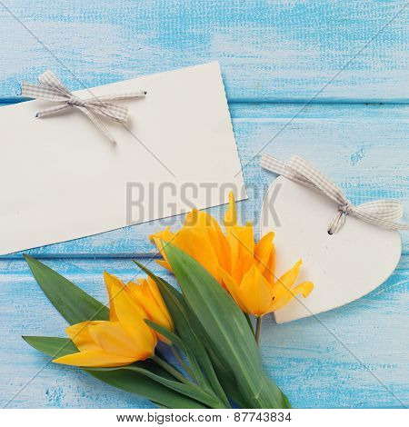 Background With Fresh Tulips, Heart And Empty Tag