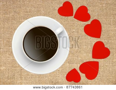 Coffee Cup With Red Hearts On Sack Canvas Burlap Background Texture