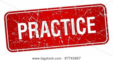 Practice Red Square Grunge Textured Isolated Stamp