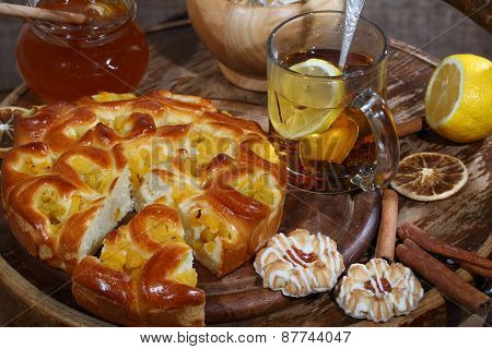 Piece Of A Pie With A Peach Stuffing, Tea And Honey