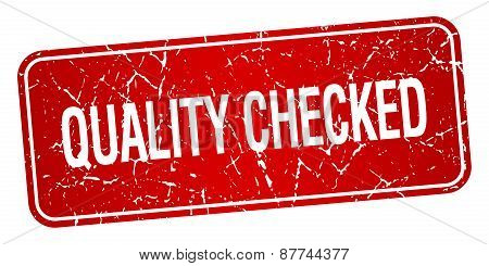 Quality Checked Red Square Grunge Textured Isolated Stamp
