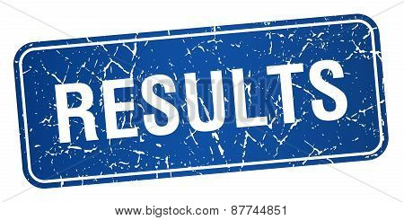 Results Blue Square Grunge Textured Isolated Stamp