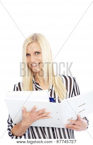 Smiling Woman In Striped Shirt Holding Open Binder