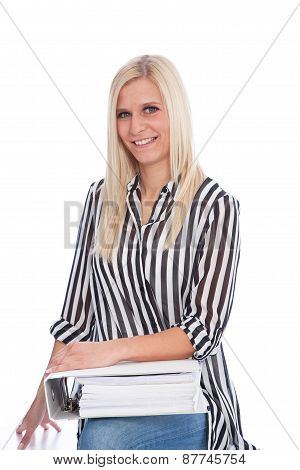 Blond Woman Holding Open Binder