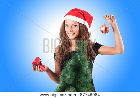 Christmas girl isolated on the white