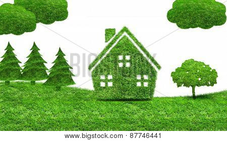 Green Grass House And Trees On A Green Meadow