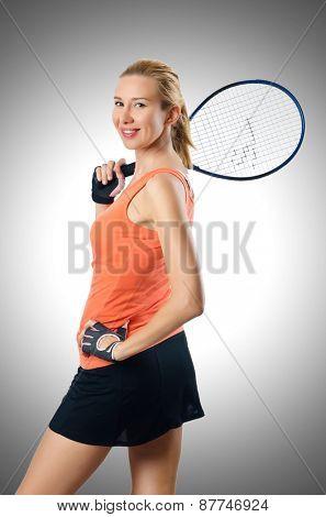 Woman tennis player on white