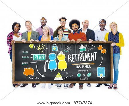 Diversity Casual People Retirement Banner Holding Support Team Concept
