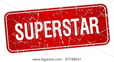 Superstar Red Square Grunge Textured Isolated Stamp