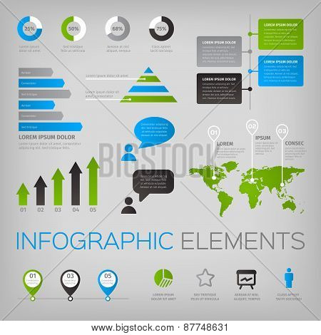 Set of infographic vector elements with world map and icons.
