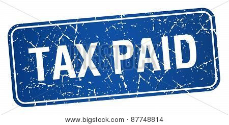 Tax Paid Blue Square Grunge Textured Isolated Stamp