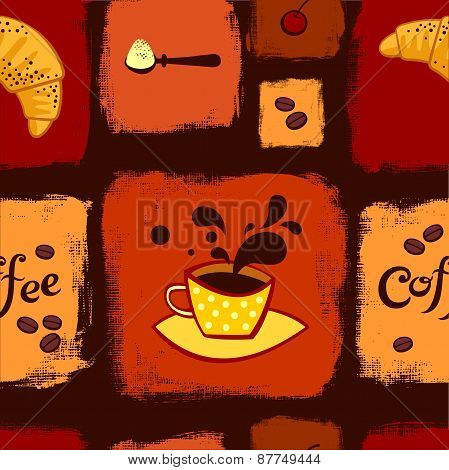 Coffee and croissant seamless pattern