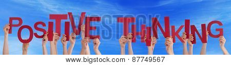 People Hands Holding Red Word Positive Thinking Blue Sky