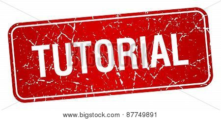 Tutorial Red Square Grunge Textured Isolated Stamp