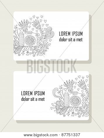 Set of cards with hand drawn floral elements and camera.