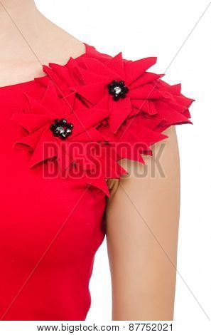 Scarlet dress isolated on white