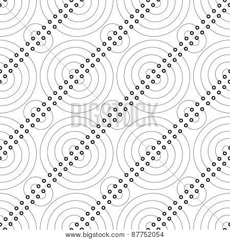 Seamless Circle and Line Pattern. Abstract Black and White Background. Vector Regular Texture