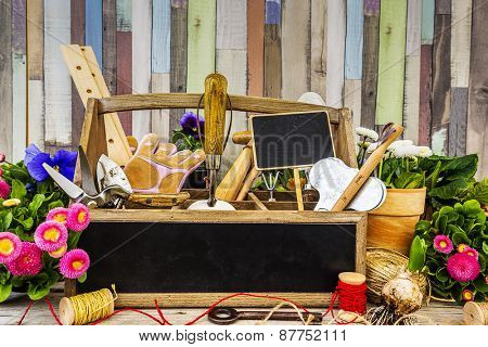 Garden tools, flowers and seeds on a wooden background