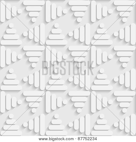 Seamless Triangle Pattern. Vector Soft Background. Regular White Texture