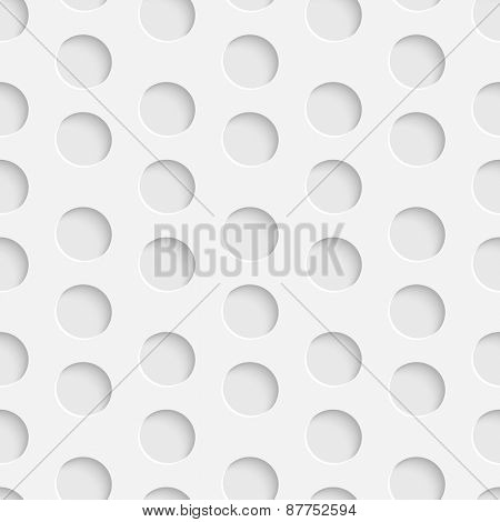 Seamless Circle Pattern. Vector Soft Background. Regular White Texture