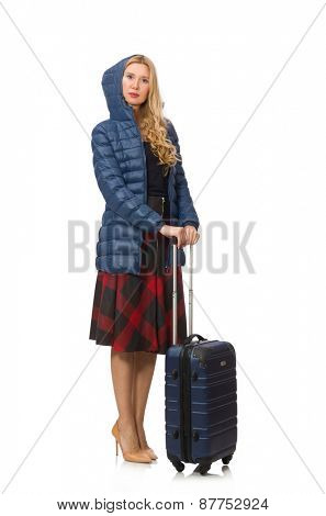 Pretty female model in blue jacket isolated on white