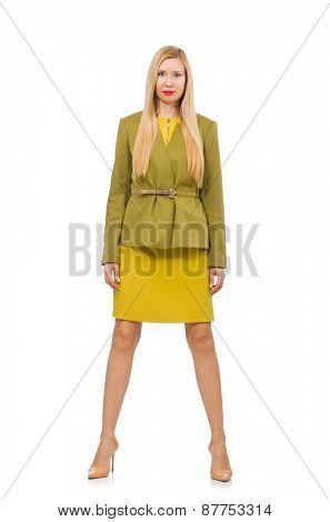 Young woman in vivid jacket isolated on white