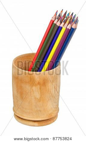 Colored Pencils In Pencil Box Isolated