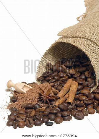 Cinnamon, coffee beans, cocoa
