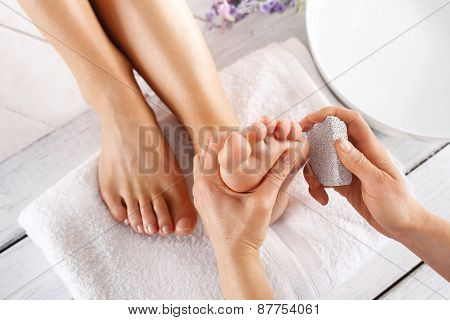 Peeling feet pedicure treatment