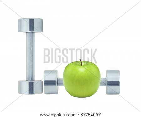 Chromed Fitness Dumbbells And Green Apple Isolated On White