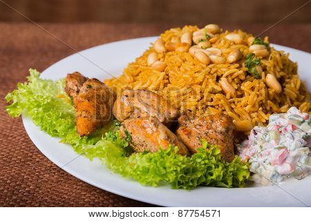 Eastern food. Arab food. Pilaf with meat