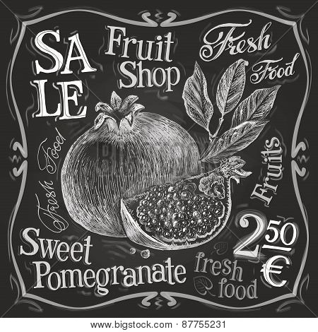 pomegranate vector logo design template. fresh fruit, food or menu board icon.