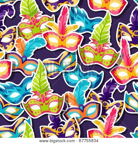 Celebration festive pattern with carnival masks stickers