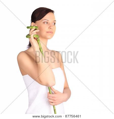 Spa Woman With Bamboo. Clear Fresh Skin