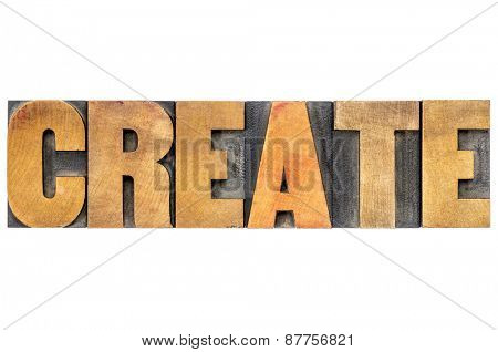 create word typography  - isolated text in letterpress wood type