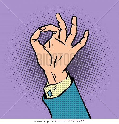 gesture sign okay pop art comics retro style Halftone