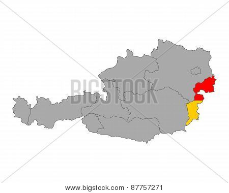 Map Of Austria With Flag Of Burgenland