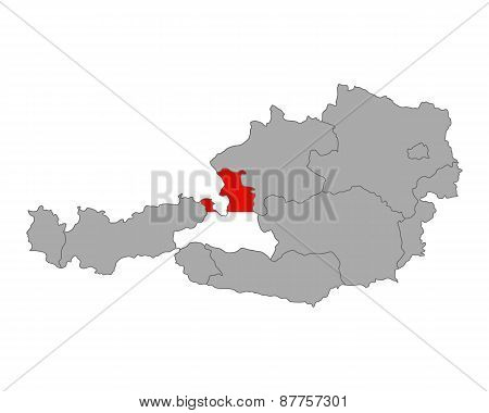 Map Of Austria With Flag Of Salzburg