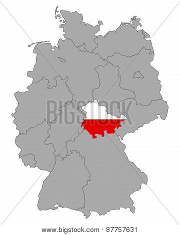 Map Of Germany With Flag Of Thuringia