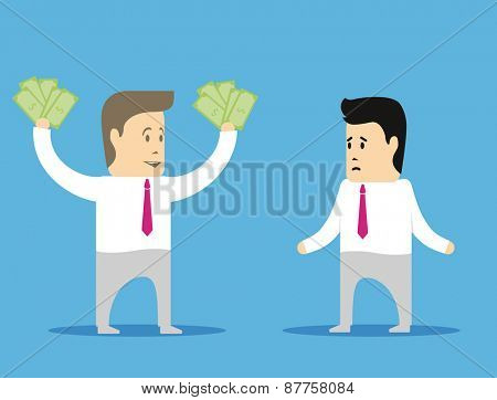 Two cartoon businessman. One had a really good deal, and the second suffered a setback