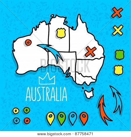 Cartoon style Australia travel map with pins vector illustration