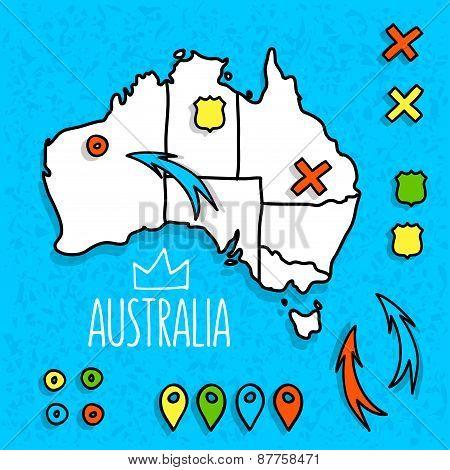 Cartoon style Australia travel map with pins vector illustration