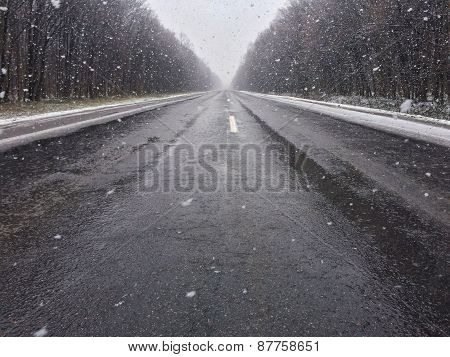 Snow-covered road