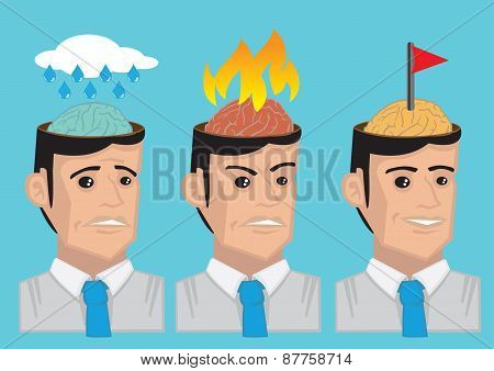 Cartoon Man Emotional States Vector Illustration