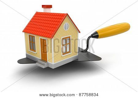 Trowel with house (clipping path included)