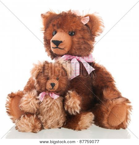 Stuffed hand made mother and daughter bears isolated over white background