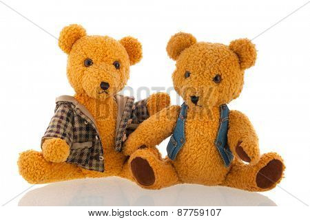 Hand made stuffed bears isolated over white background