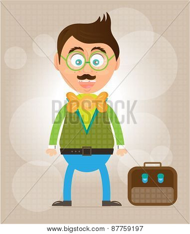 Smiling, happy, young, standing, businessman with mustache, bow tie and briefcase, background with p