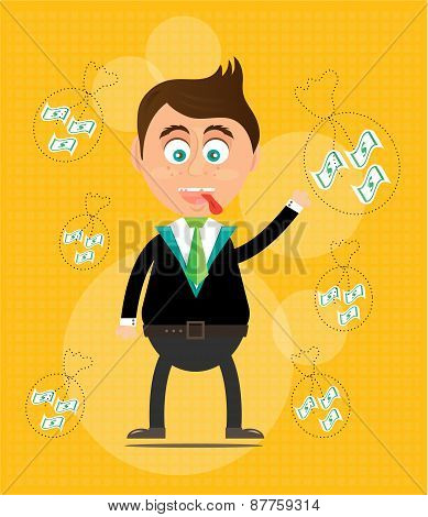Smiling, happy, young, standing, businessman with money, yellow background with pattern