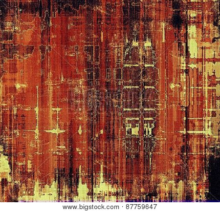 Old-style background, aging texture. With different color patterns: red (orange); brown; yellow (beige); black